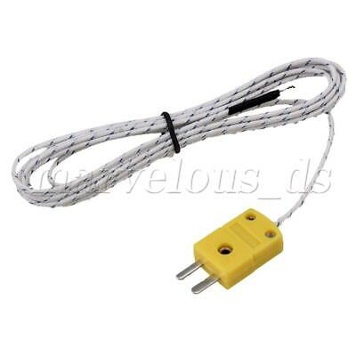 Metal 2m K Type Fiberglass Thermocouple Sensors Cable Probe Mini-Connector