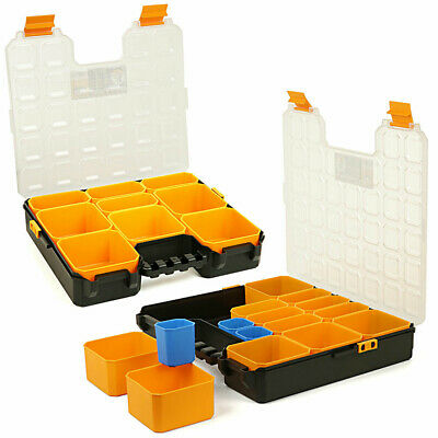 Tough Master Pro Tool Organiser Plastic Carry Case With Storage Compartments