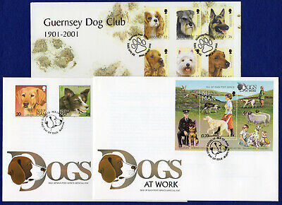 Isle of Man Dogs at Work & Guernsey Dog Club First Day Covers x3 (Ref. t2374)