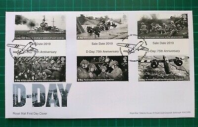 2019 75th Anniversary D-Day ALL Gutter Set of 6 on FDC Tallents House postmark