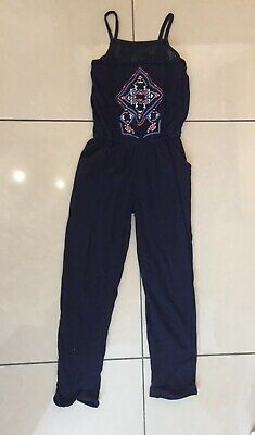 Girls NEXT Jumpsuit Age 6 Blue Summer Holiday Party Festival Coral Top Trousers