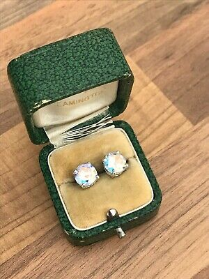 Lovely Pair of Marked Sterling Silver & Clear AB Effect C Z Stud Earrings 2.6gr