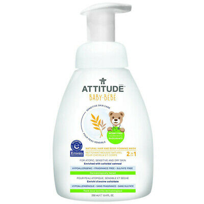 ATTITUDE 2in1 Natural Hair/Body Foaming Wash Baby Fragrance Free 8.4fl oz/250ml