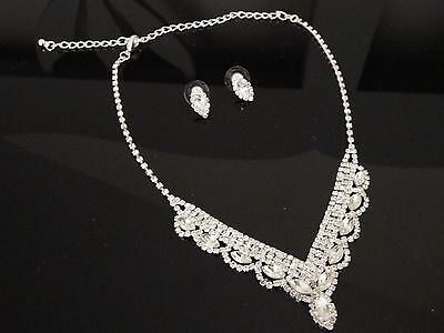 Diamante Crystal Necklace Choker Earring jewellery Set Bridal Prom - sparkly!