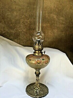 Antique French Oil Lamp Art Nouveau c1880 Glass Shade Brass fitting Spelter Base