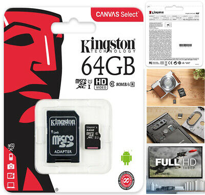 Kingstone Memory 64GB Plus Micro SD card with Adapter and warranty+UK Seller