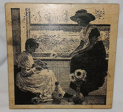 Retired Toybox Victorian Woman Girl Rubber Stamp Fine Art Painting Leslie Scene