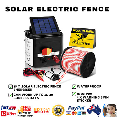 3km Solar Electric Fence Energiser/Charger Kit, 400m Tape, 25 Insulators & Sign