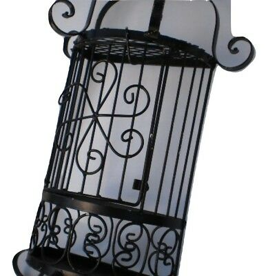 Vintage Black Ornate Wrought Iron Birdcage 1950s Hanging or Standing Decor