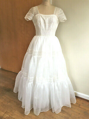 Vintage 1950's White Organdy Dress Eyelet Embroidery Trim Wedding Prom Party