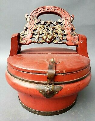 Hand Carved Painted Chinese Round Box With Figures Large Handle Antique