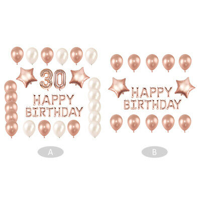 HAPPY BIRTHDAY Letter Giant Foil Balloon Set 30th Birthday Party Decor Rose Gold