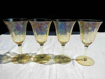 4 Tiffin 14196 Yellow Irradiated Depression Glass Tall Stem 8 oz Water Goblets