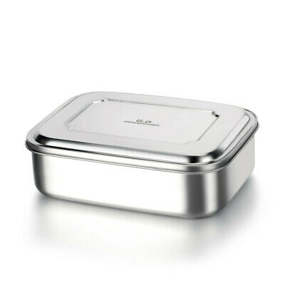 Stainless Steel Bento Lunch Box Food Container Storage,1800ml Large 3 Grids Box