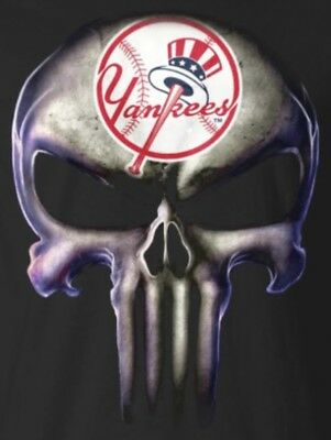 (2) NY New York Yankees Punisher Skull Vinyl Stickers 5x3.8 Car Window Decal