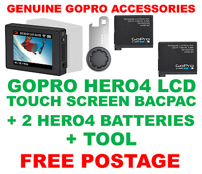 Genuine Official Gopro Hero 4 Lcd Touch Screen Bacpac + 2 Batteries + Tool Hero4