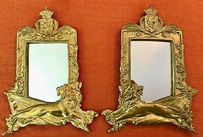 FAB Pair Antique Bronze Gilt Lion Crown Coat of Arms Mirror Picture Photo Frames