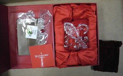 *NEW* Waterford Crystal Fleur De Lys Lis Clear Ornament with Hanger Christmas