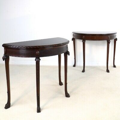 Pair of George III Neoclassical Style Mahogany Card Tables by Maple & Co, c.1900