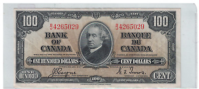 1937 Bank of  Canada $100 Dollar Note B/J Coyne/Towers