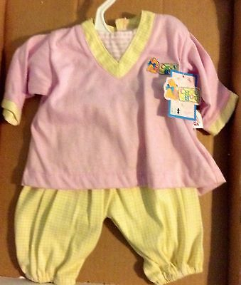 BABY CHOU CHOU DOLL CLOTHES OUTFIT BY ZAPH 19in DOLLS PINK & YELLOW 2 PC SET