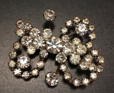 Vintage Jewelry Very Old Antique Austria Crystal Flower BROOCH PIN Rhinestone