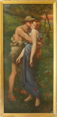 Very Large Victorian Pre Raphaelite Oil On Canvas Two Lovers Signed Dighton 1901