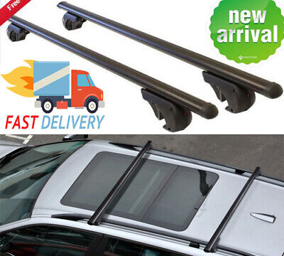 2x Universal Aluminum Car Top Roof Rack Locking Cross Bars Rail Luggage Carrier