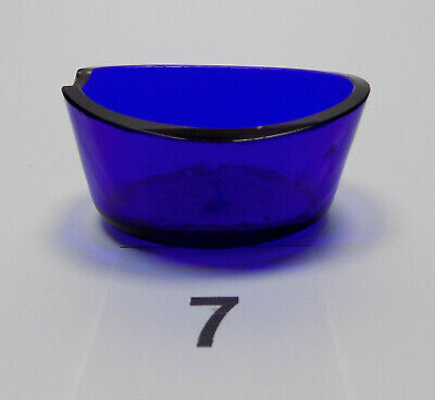Antique Oval Cobalt Blue Glass Liner Silver Salt / Mustard With Spoon Recess #7