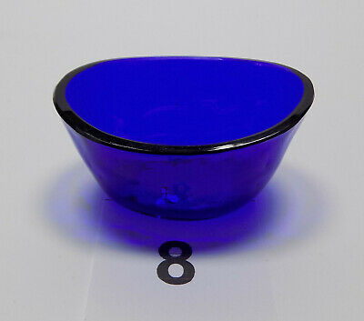 Antique Oval Cobalt Blue Glass Liner Silver Salt / Mustard / Dish #8