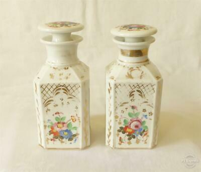 Good Sized Pair Of Antique 19Th Century French Painted Porcelain Scent Bottles