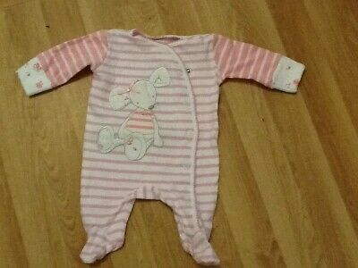 Next Pink Girls Bunny Romper Sleep suit Baby grow First Size