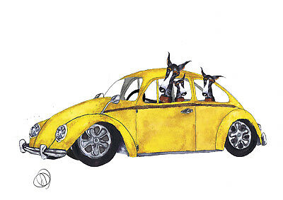 OUT FOR A RIDE - PRINT PAPER or CANVAS & ACRYLIC BLOCK greyhound whippet  ltd ed