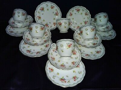 Queen Anne fine bone china - Set of 6 trios, Pretty Floral design gilt edge  VGC