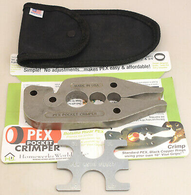 Excellent Near Mint PEX Pocket Crimper Tool, Pouch, Measurement Tool nstructions
