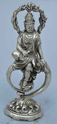 China Collectable Miao Silver Carve Kuan-Yin Sit Moon Rare Art Royal Old Statues