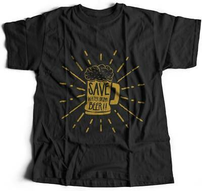 Mens T-Shirt Save Water Drinks Drink Beer Funny Quote Retro Ale Vintage Classic