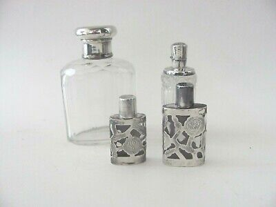 Lot of Vintage Glass & Sterling Silver Perfume Bottles Dutch Mexico England