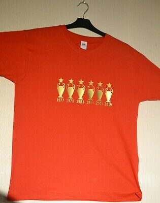 Liverpool Fc Champions league 6 times Fruit Of the Loom Red T shirt Medium