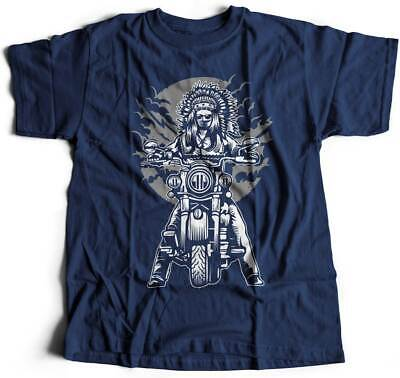 Mens T-Shirt Indian Chief Motorcycles Native American Warrior Axe Wild Free Bike