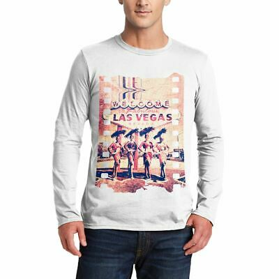 A834W Mens LS T-Shirt Fabulous Vegas Art Welcome To Dancers Nevada Las Abstract