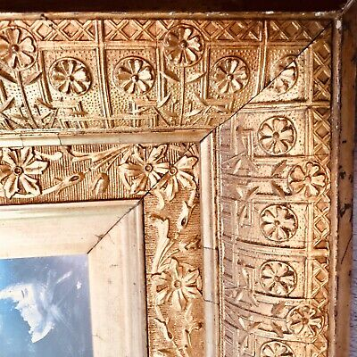 ANTIQUE AESTHETIC GOLD GILT DEEP PICTURE FRAME w MIRROR WOOD GESSO Fits 9.5x11.5