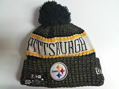 7fc925273cc1b8 Pittsburgh Steelers New Era Knit Hat On Field 2018 Sideline Beanie Cap Pom  Pom