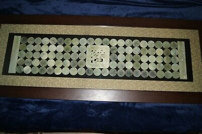 Large Heavy Beautiful 99 Chinese Jade Or Hard Stone Pieces Framed Under Glass