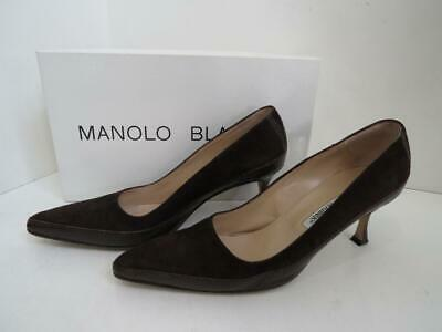 22f4ede4d9ab2 Manolo Blahnik Brown Suede/Lizard Pointy Toe Heels/Pumps/Shoes Size 35.5