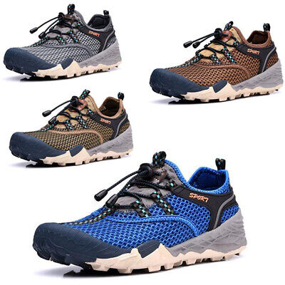 Men's Outdoor Hiking Shoes Mesh Travel Sneakers Non-Slip Breathable Flat Casual
