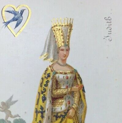 c1868 Chromolithographic Masterpiece Queen of Hearts Rare Playing Cards Single