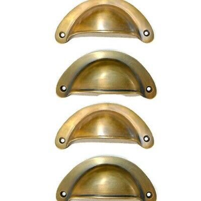 "4 heavy shell shape pulls handle antique solid brass vintage 4"" vintage style B"