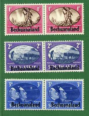 Bechuanaland 6 stamps, SC 137 - 139 ( 3 pair ), WWII Allies Victory, 1946, MPH