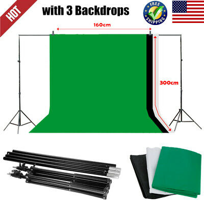 10x6.5ft Adjustable Photography Photo Background Stand Kit + 9ft x 6ft Backdrops